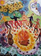 tableau personnages carton toile 30 x 4 danseurs feu : Les danseurs éternels
