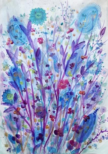 PAINTING fleurs herbiers petites fleurs aquarelle Fleurs Aquarelle  - Les petites fleurs des champs