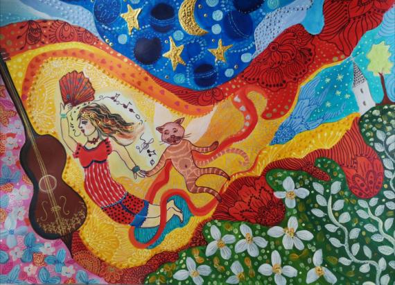 TABLEAU PEINTURE Animaux Acrylique  - Danse dans les fleurs
