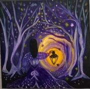 tableau personnages toile feerique petite fille lanterne toile enfant : Une lumière dans la nuit