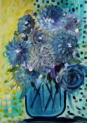 dessin fleurs bouquet art brut bleu jaune : Bouquet