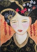 dessin personnages couleurs dasie visage asie imagin orange noir rouge canson encadre : Couleurs d'Asie