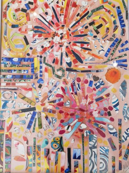 TABLEAU PEINTURE collage botanique papiers aquarelle Fleurs Collage  - botanic