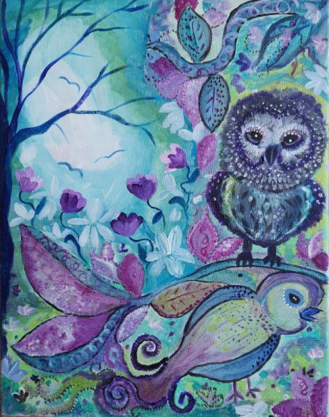 TABLEAU PEINTURE oiseaux chants tableau vert fleurs Animaux Acrylique  - Chants printaniers