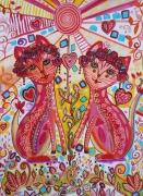 tableau animaux chats bienfaiteurs acrylique diluee matriochat composition folk art : Matriochats Bonheur