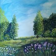 tableau paysages toile paysage verd tableau plein air soleil ciel bleu paysage naturel : un coin de ciel bleu