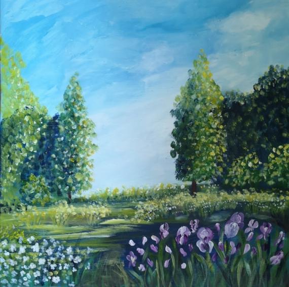 TABLEAU PEINTURE toile, paysage, verd tableau plein air soleil, ciel bleu paysage , naturel Paysages Acrylique  - un coin de ciel bleu