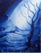 tableau paysages tableau feerique acrylique paysage bleu : Le chant du silence