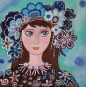 tableau personnages muse fleur romantique jeune fille : Lola