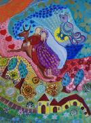 dessin personnages inspiration chagall peinture acrylique encre stylo : Dans le vent