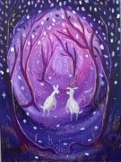 tableau animaux toile feerique couples biche et cer toile pour enfant univers feerique : Nuit magique