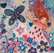 tableau personnages papillons fleurs petite fille jardin imaginaire toile pour enfant : danse avec les papillons