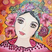 tableau personnages toile visage feminin fleurs : Le temps des fleurs