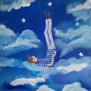 tableau personnages bleu blanc ciel toile acrylique poe personnage dans le ,c ciel et etoiles ,pi : les pieds dans les étoiles
