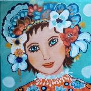 tableau personnages poupee russe melodi portrait visage ,t orange et turquoise tableau acrylique : Russian Mélody