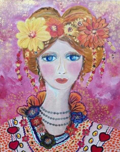 TABLEAU PEINTURE portrait, visage portrait féminin visage femme acrylique Personnages Acrylique  - Anaïs