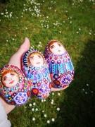deco design matriochka art trio de galets peint peinture sur galet vernis handmade f : trio de matriochkas