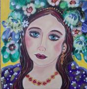tableau personnages fille de mai muse visage printemps couleurs vert mauv jaune bleu rouge : Joli mois de Mai