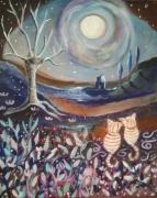 tableau animaux 2 chats feerique lune paysage naif : Nuit Câline