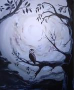 tableau paysages toile feerique uni toile chouette magi paysage noir et gris chouette et paysage : La contrée Mystérieuse