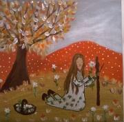 tableau personnages petite cueilleuse fleurs toile naive pour enfant : La petite cueilleuse de fleurs