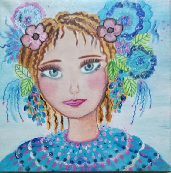 TABLEAU PEINTURE visage portrait, enfant petite fille tableau Personnages Acrylique  - Alysée VENDU