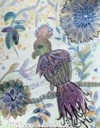 tableau animaux oiseau imaginaire aquarelle art naif canson : Le petit prince d'Amazonie