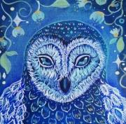 tableau animaux oiseau chouette un univers feerique to couleurs de composit toile feerique : Reine de la nuit