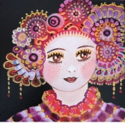 tableau personnages toile portrait visage petite fille noir orange mauve folk art : Shaïnaya