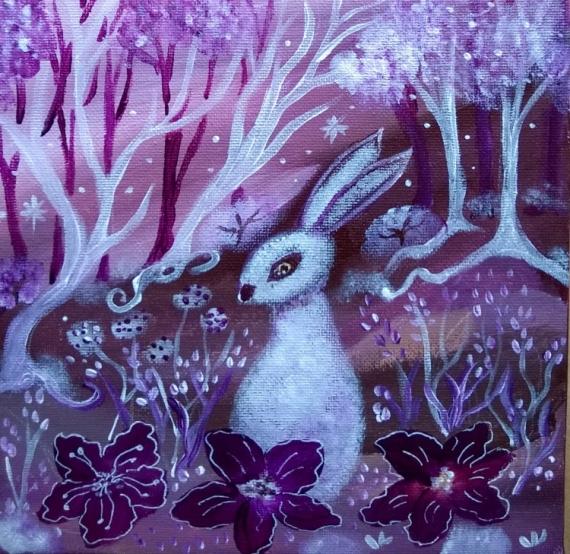 TABLEAU PEINTURE lapin féérique art naïf bordeaux Animaux Acrylique  - Aube féérique