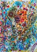 dessin abstrait abstrait art abstrait canson techniques mixtes : Les champs de fleurs