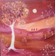tableau paysage naif orange mauve arbres et maisons : douceur du soir