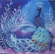 tableau animaux paon oiseau univers feerique toile feerique bleu vert : Le magnifique
