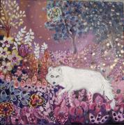 tableau animaux loup feerique fleurs univers de conte : La nuit est mon royaume