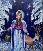 painting personnages fee magie univers feerique fee et faon lanterne et foret : Au Pays des fées