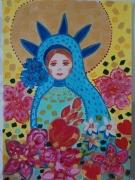 tableau personnages papier d art madone fleurs coeur les toiles d ys : Madone au coeur ardent