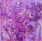 tableau fleurs toile abstraite fleurs roses : Abstrait fleurs