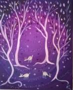 tableau animaux biches art naif feerique tableau tendresse : Féérie nocturne