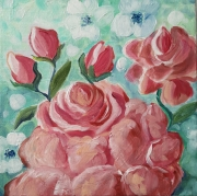 tableau fleurs turquoise rose fleurs bonheur jar tableau rose et fleu tableau 20 x 20 : Rose Chou