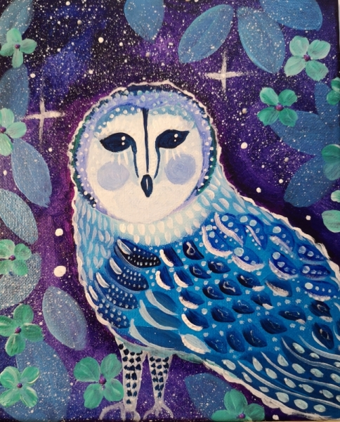 TABLEAU PEINTURE toile pour enfant tableaux féériques chouette, étoiles, f petite chouette Animaux Acrylique  - Sous la voûte étoilée