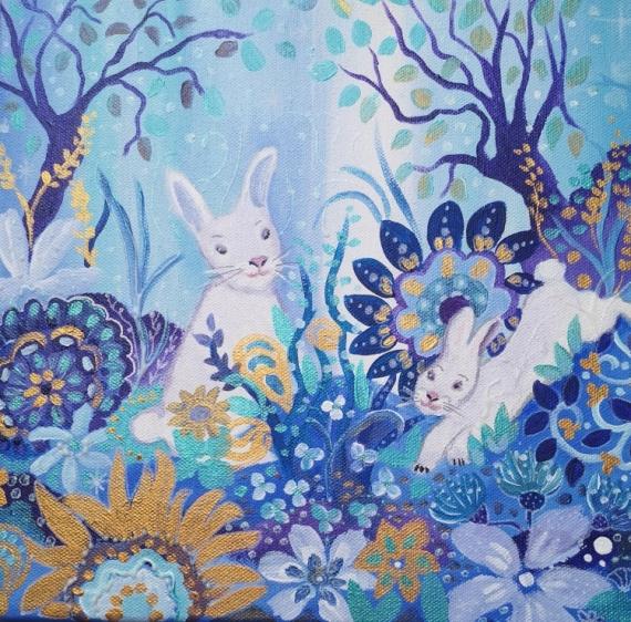 TABLEAU PEINTURE petits lapins , toil un peu pailletée, un toile enfant, toile tableau lapin , bleu Animaux Acrylique  - Je te vois !