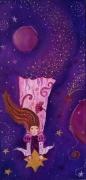 tableau personnages etoiles tableau fee petite fille galaxie toile pour enfant ,a : Au delà des nuages