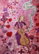 dessin scene de genre musique violoncelliste amour art : Merveilleuse symphonie