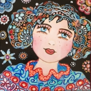 tableau personnages visage personnage folk art portrait bleu noir rouge visage portrait f : natacha