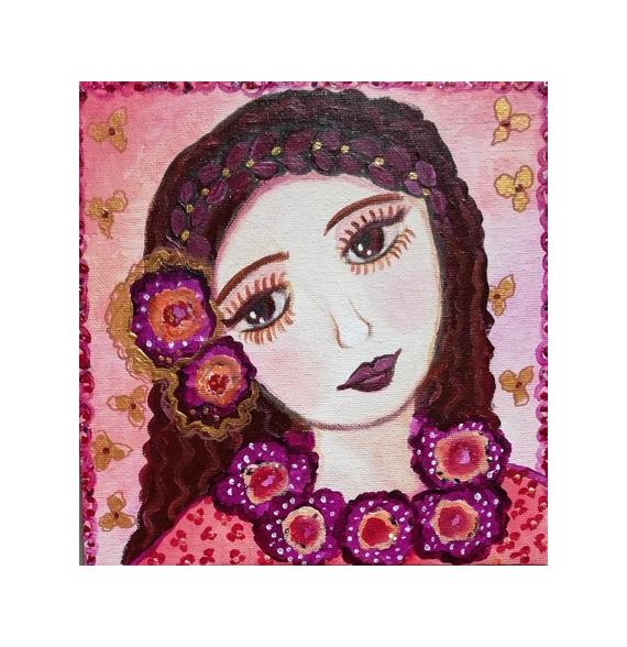 PAINTING toile personnage petite fille tzigane Personnages Acrylique  - Esmeralda