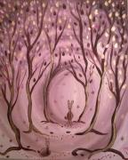 tableau animaux tableau feerique art naif contemporain biches et neige : Féérie sous la neige