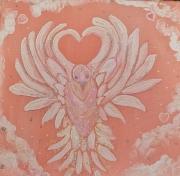tableau animaux toile chambre univers de douceur oiseau blanc paix amour acrylique sur : Le petit messager d'amour
