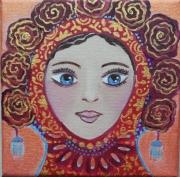 tableau personnages matriochka toile naif romantique portrait feminin : La petite matriochka