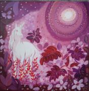 tableau animaux licorne toile feerique fleurs rose : Le jour s'en va