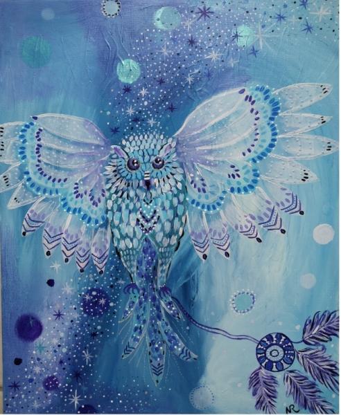 TABLEAU PEINTURE tableau petite chouette féér ciel étoile, magie, petite chouette blan Animaux Peinture a l'huile  - Traverser le ciel